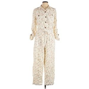 Vintage feel creamy ditsy floral print coveralls